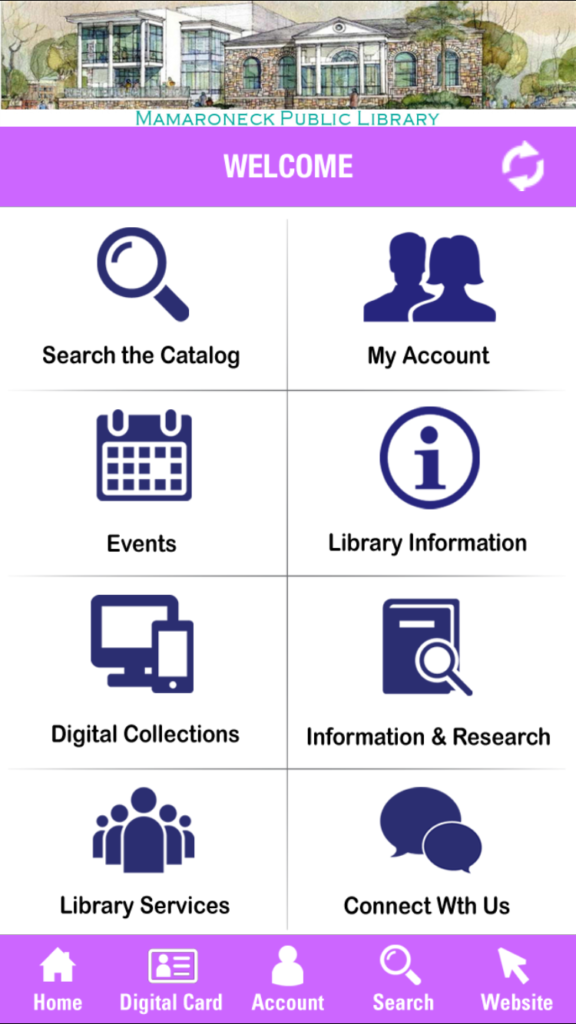 screen capture of Westchester Library System App