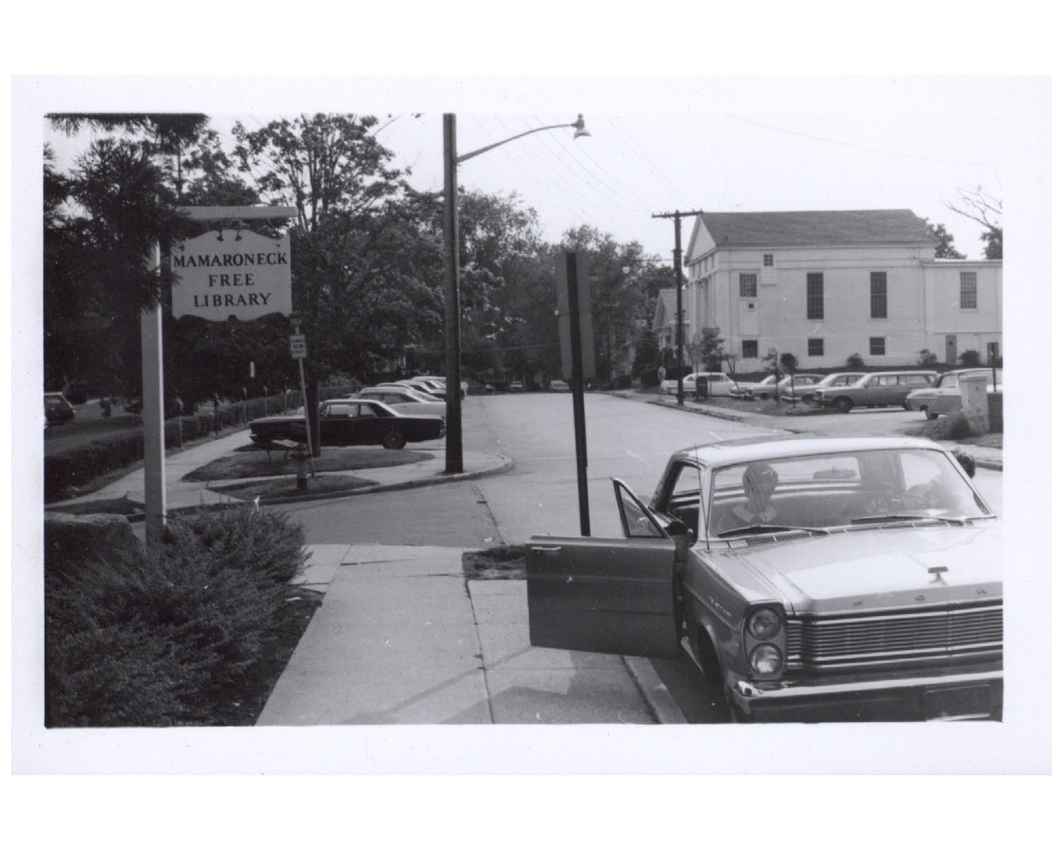 historic photo of Mamaroneck Library sign