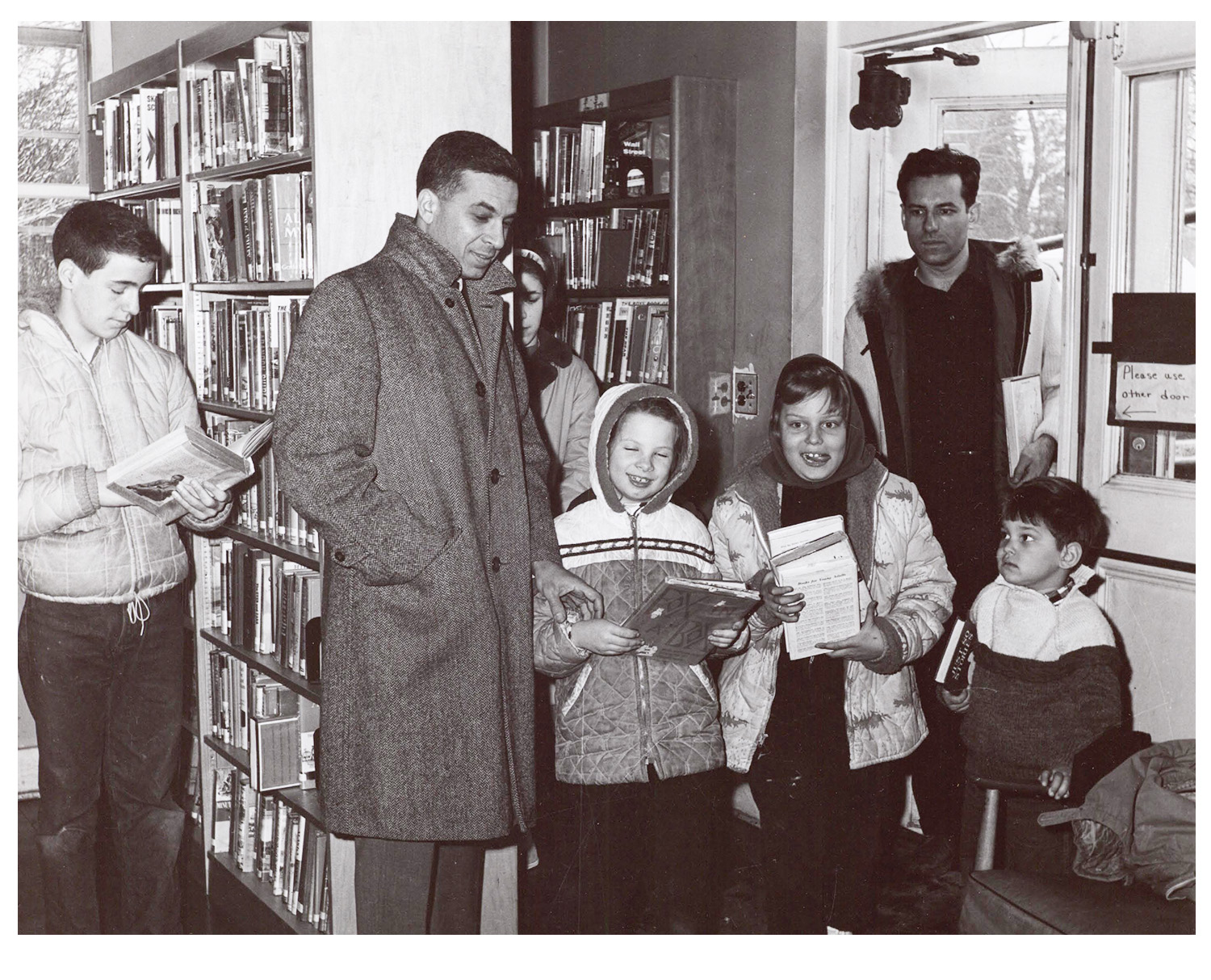 historic photo of children with books