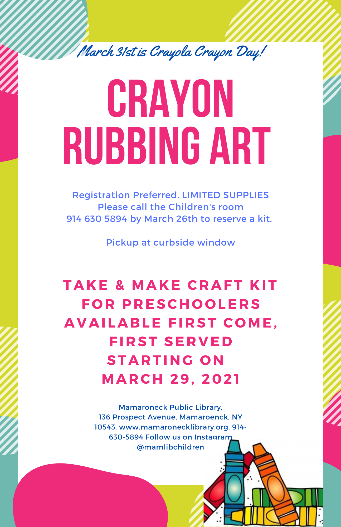 Crayon Rubbing Art - Take & Make Kit for Pre-Schoolers
