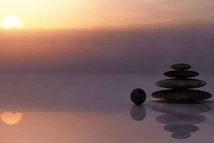 image of stones at sunrise
