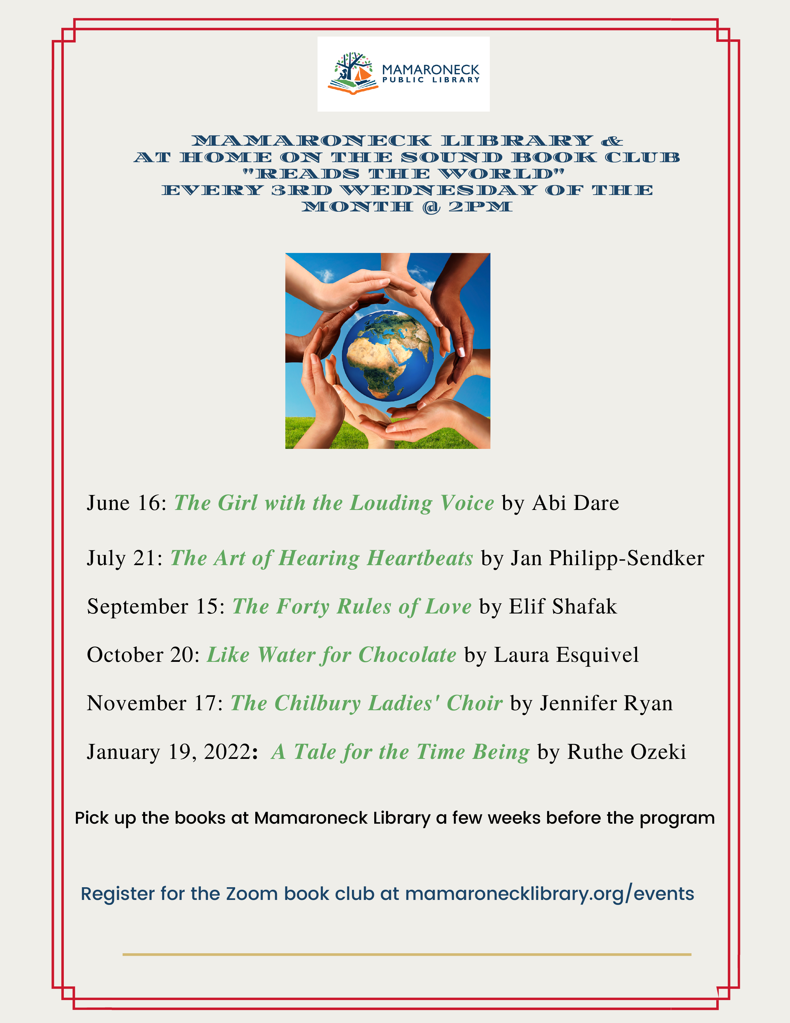 Mamaroneck book club schedule for remainder of 2021