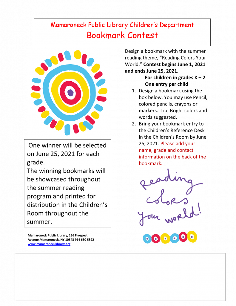 Summer Reading bookmark making program for children