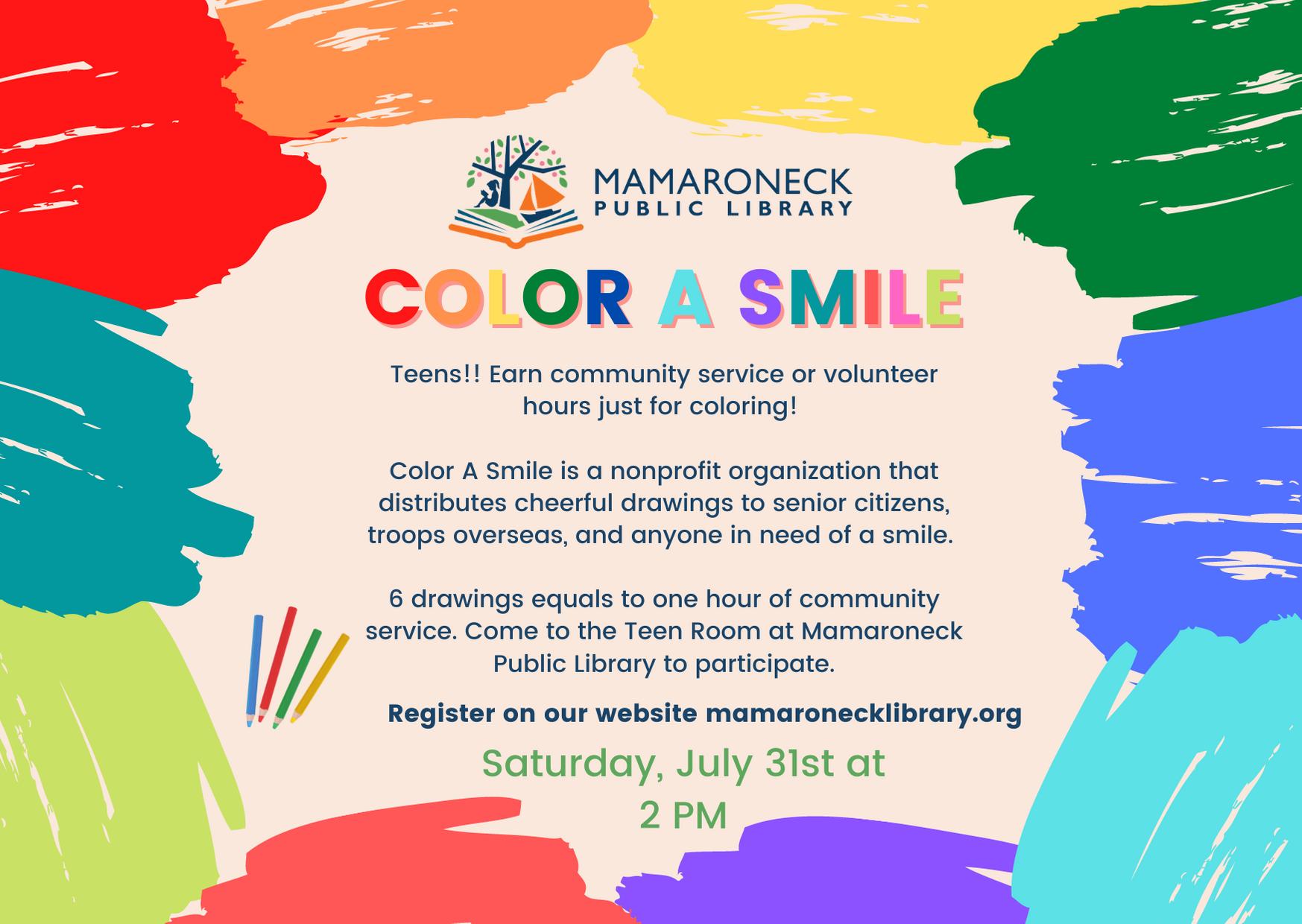 Color a Smile - Teen summer program for community service