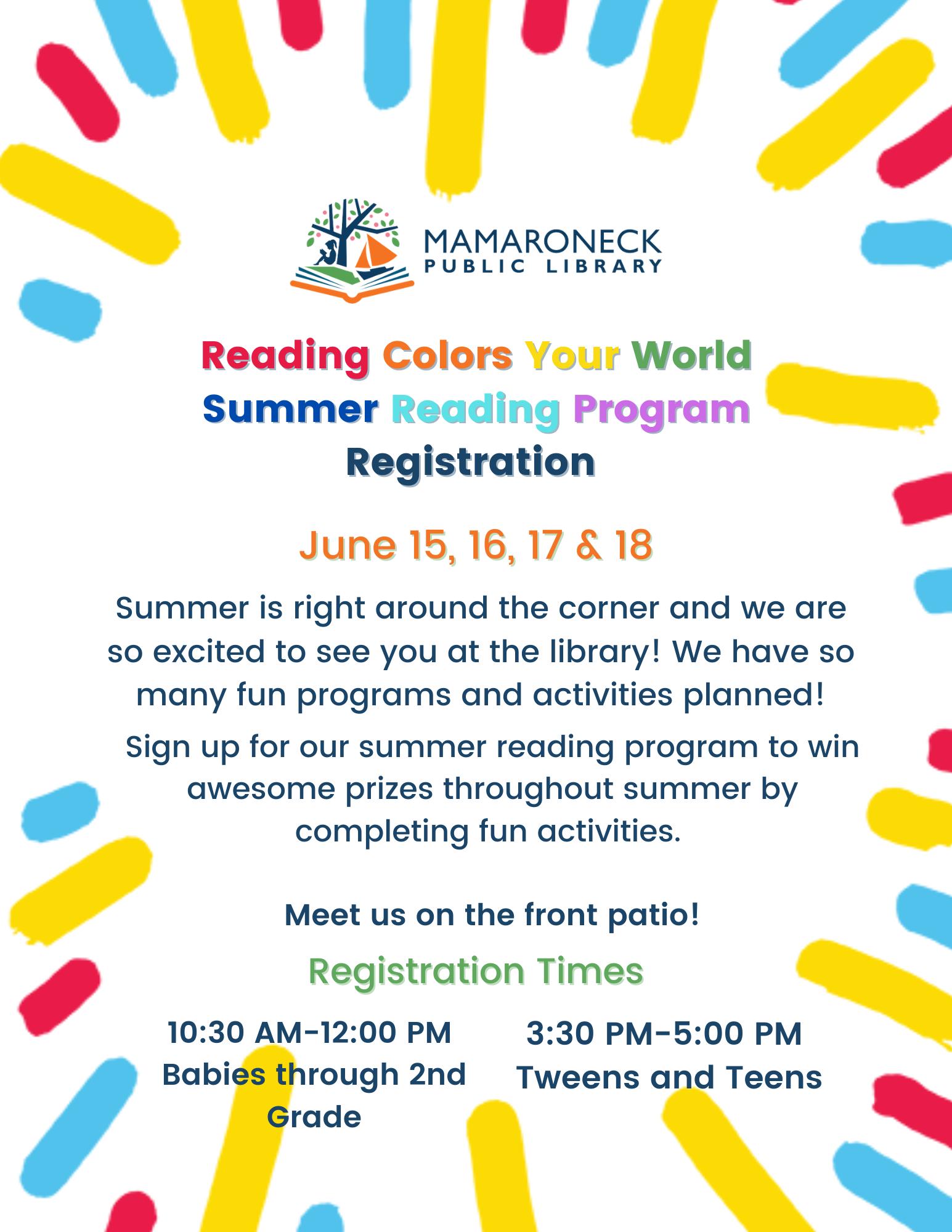 Summer Reading Registration for children and teens