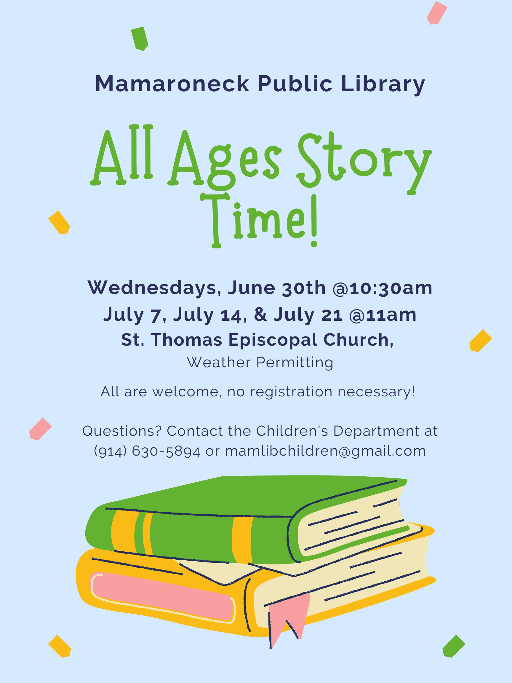 All Ages Storytime for children July schedule