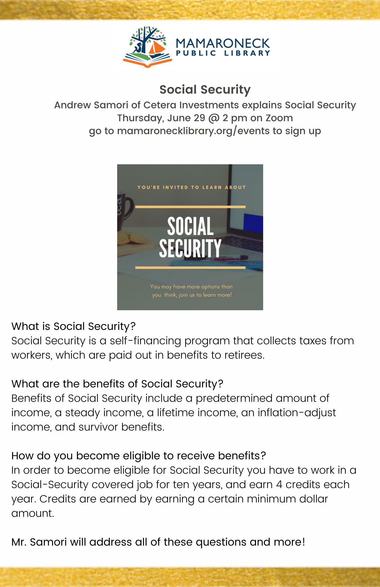 Social Security Webinar flyer
