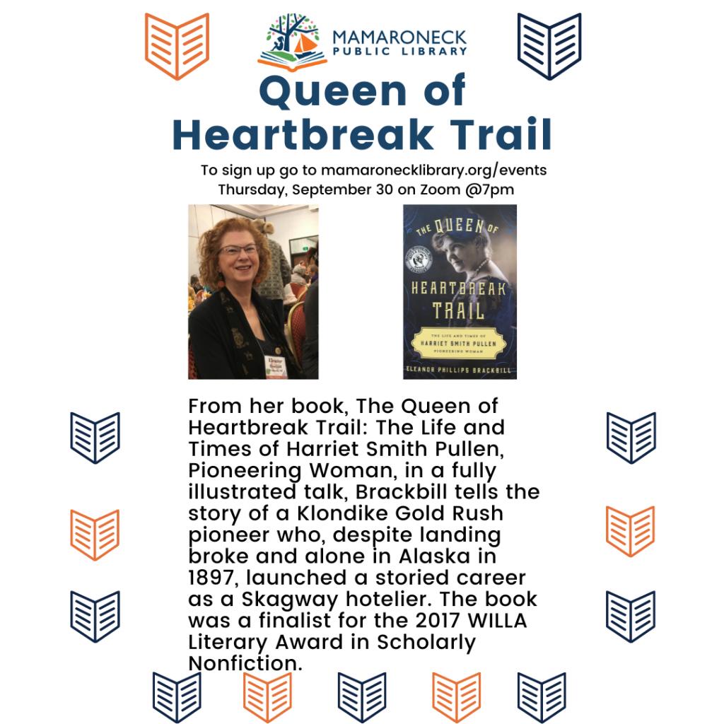 Zoom webinar: Eleanor Brackbill author will talk about her book Queen of the Heartbreak Trail