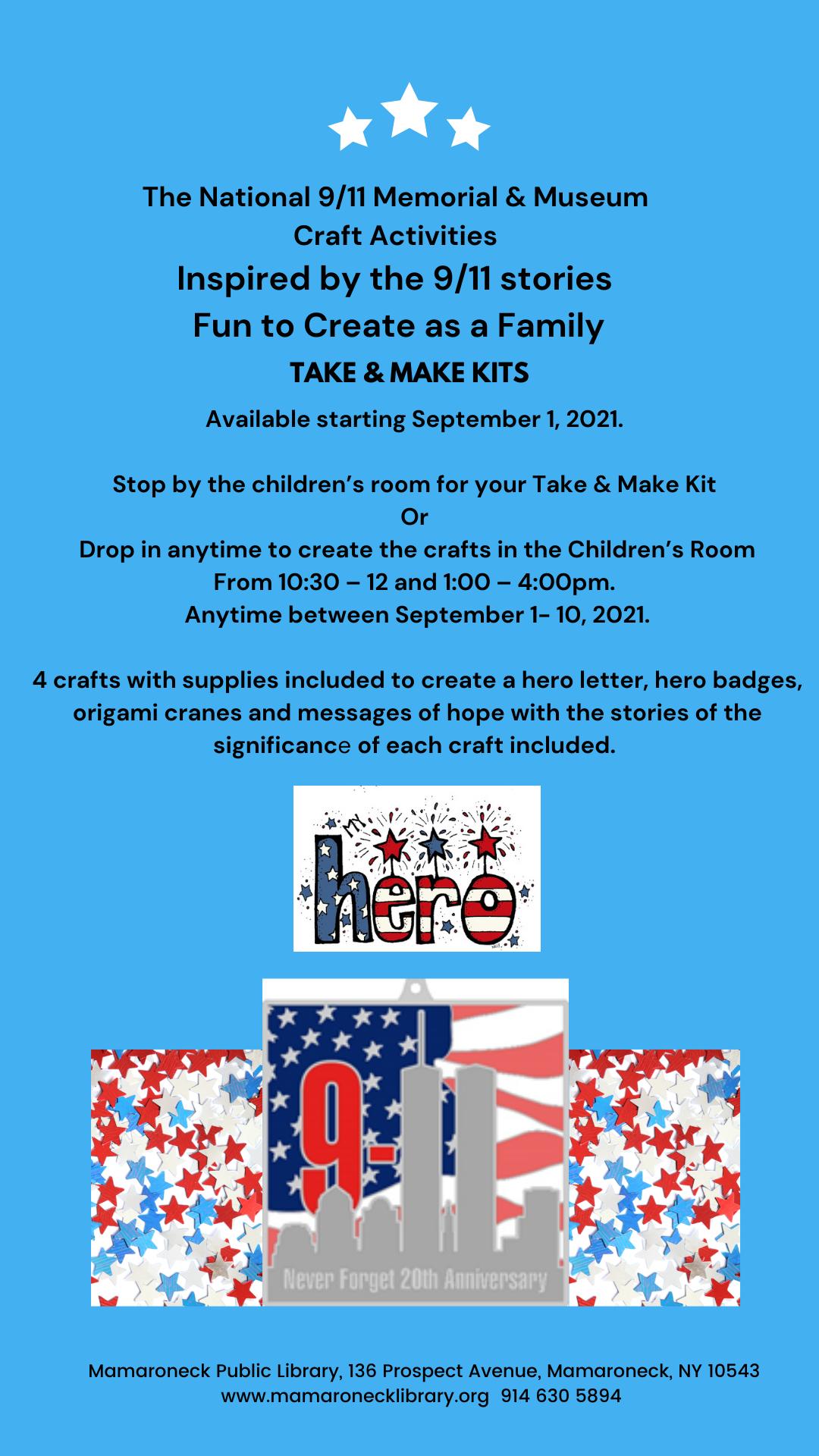 9/11 take and make kits for children