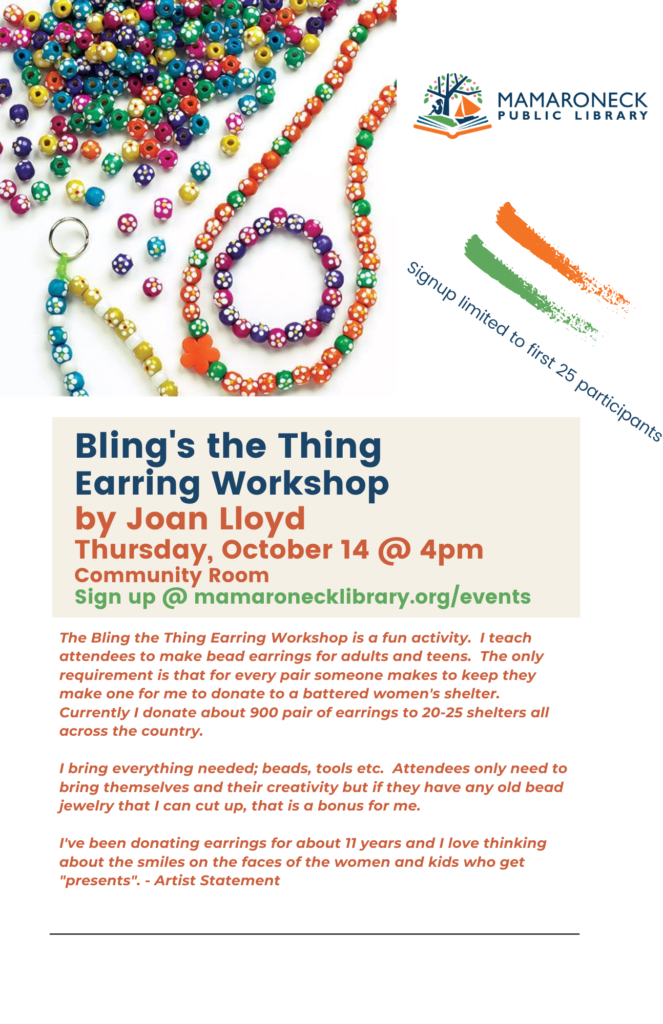Earring making workshop for teens and adults