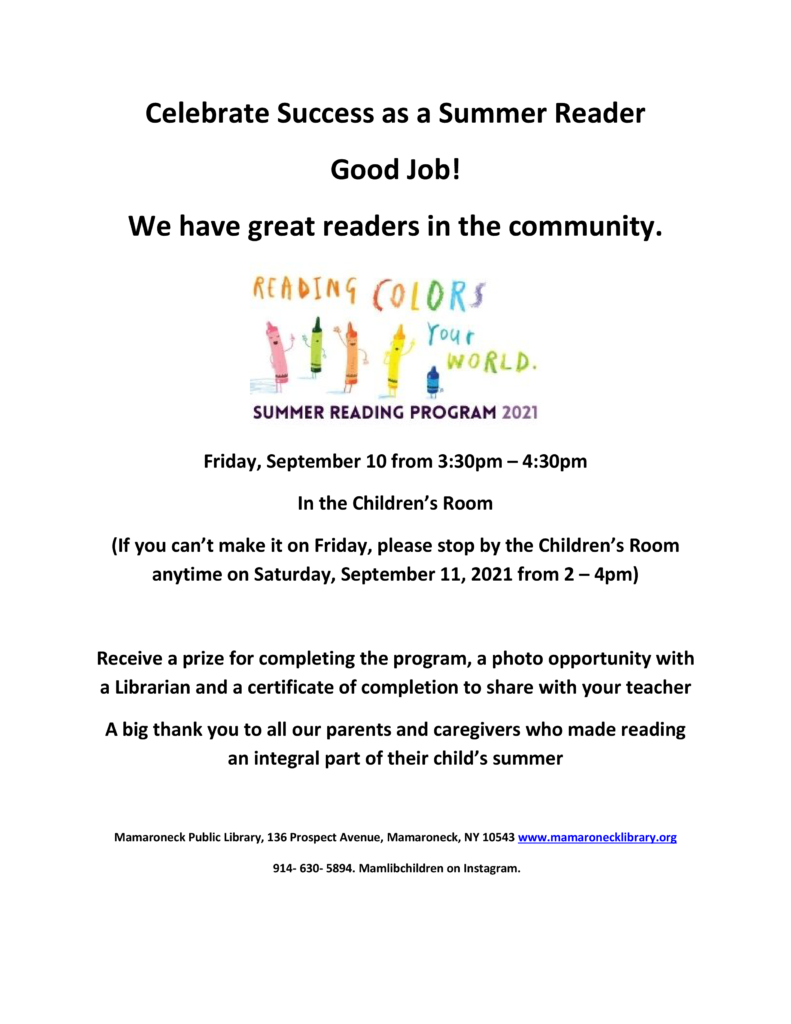 Children's summer reading program celebration