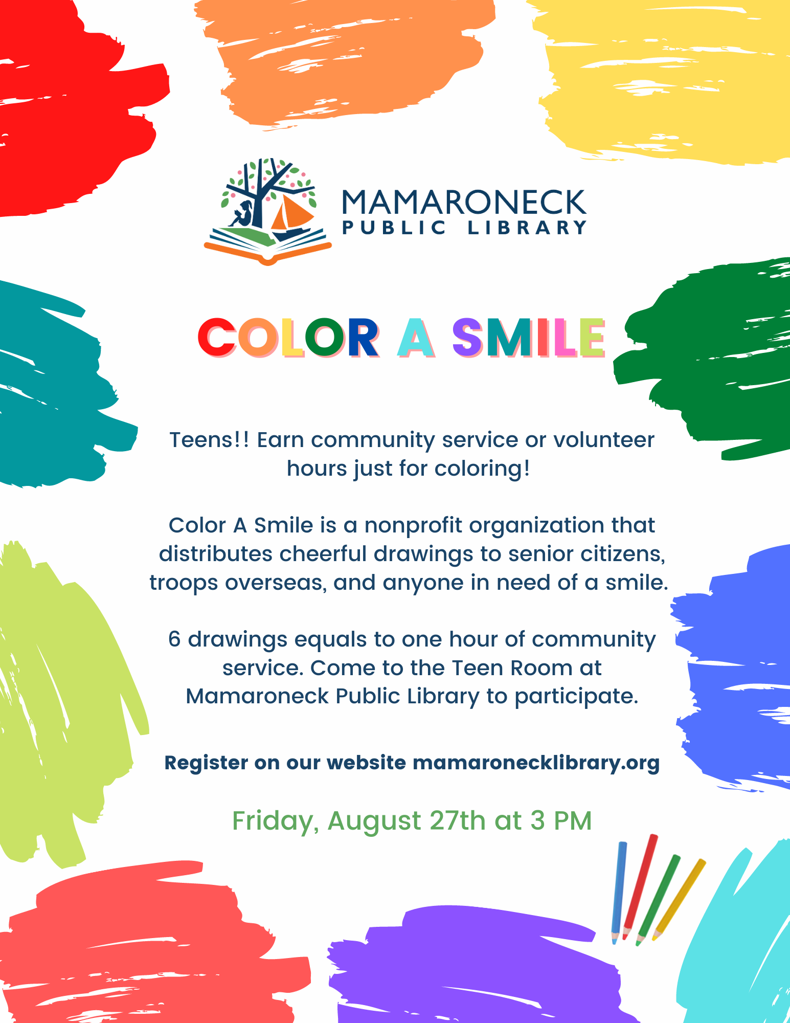Teen Program: Color a Smile to earn community hours