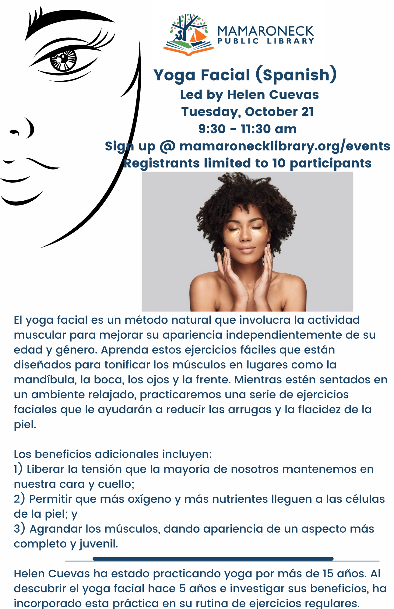facial yoga flyer in Spanish