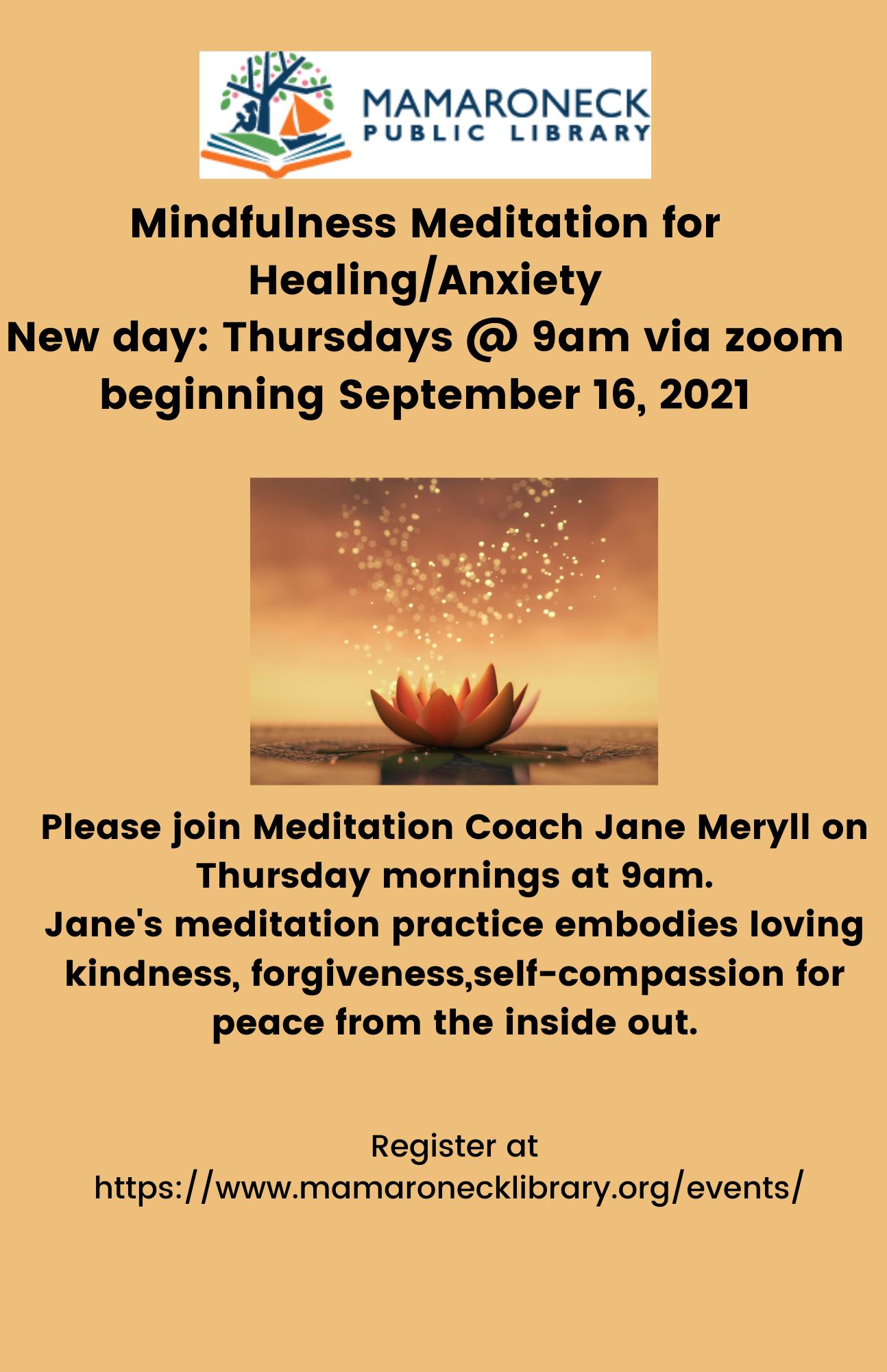 flyer announcing Fall Thursday morning meditation schedule