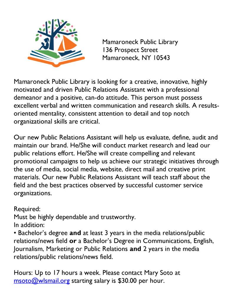 Help wanted p/t publicist position at MPL available