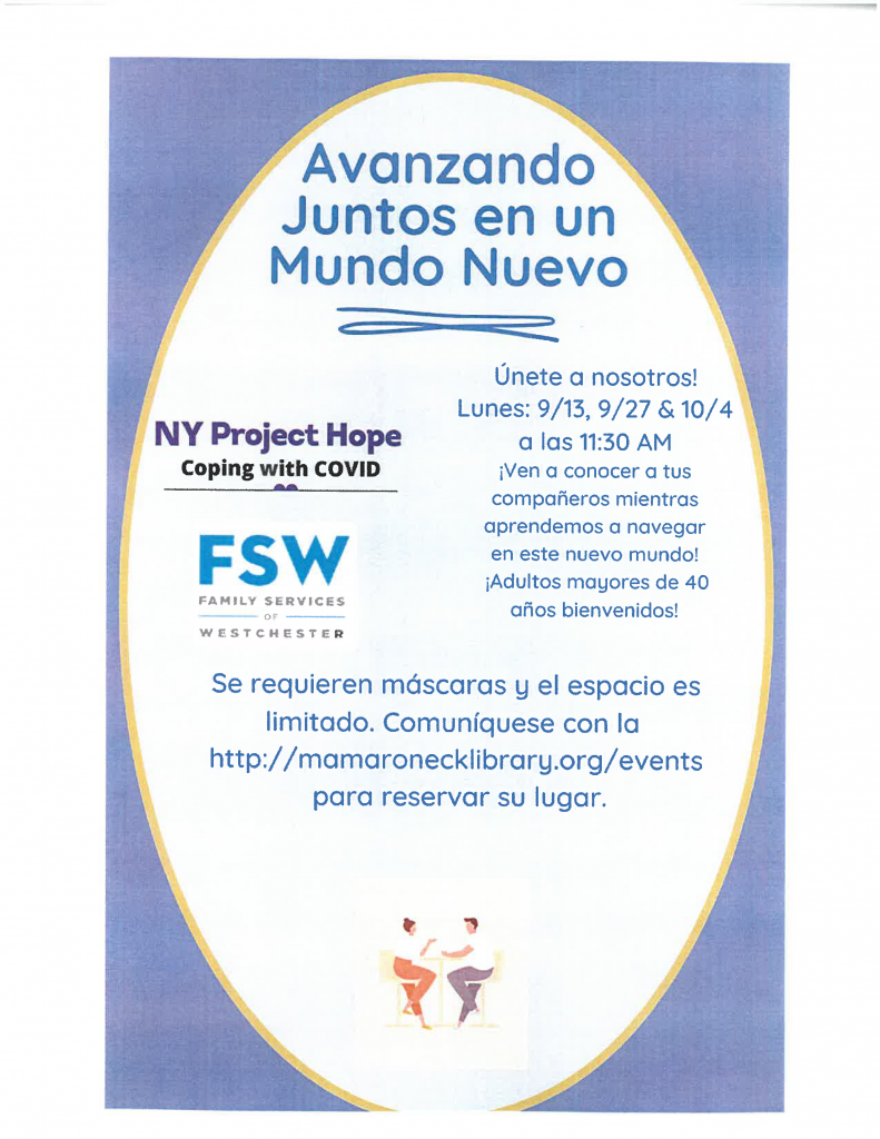 Spanish text: coping in a new post-covid world, mental health webinars