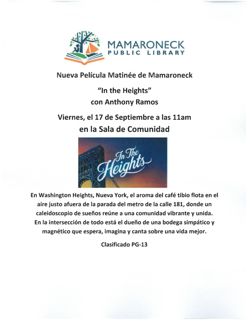September movie, In the Heights, spanish language flyer
