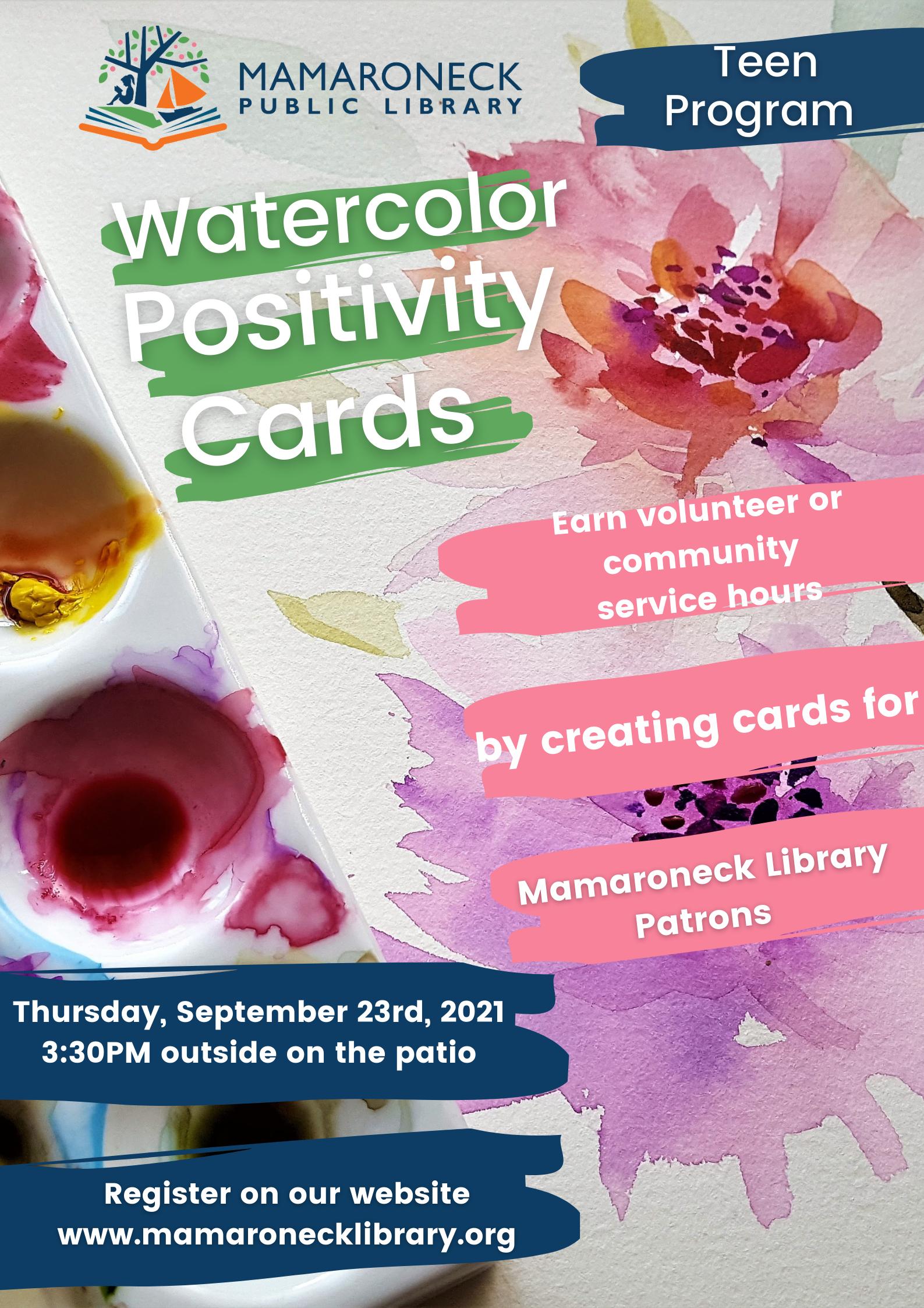 Teen program: watercolor positivity cards