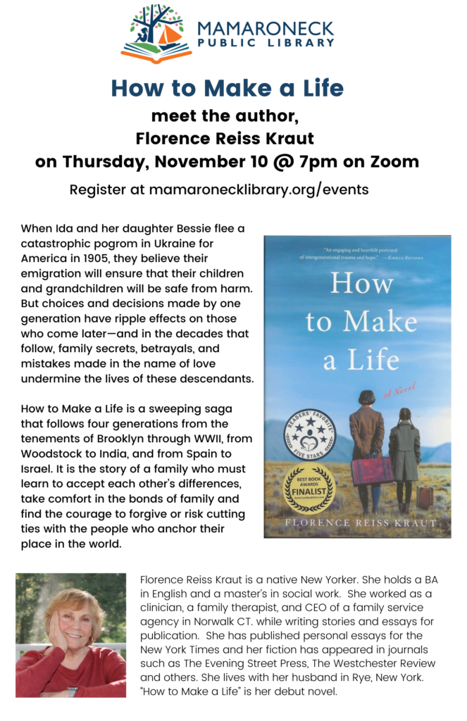 """author event via zoom, """"how to make a life"""""""