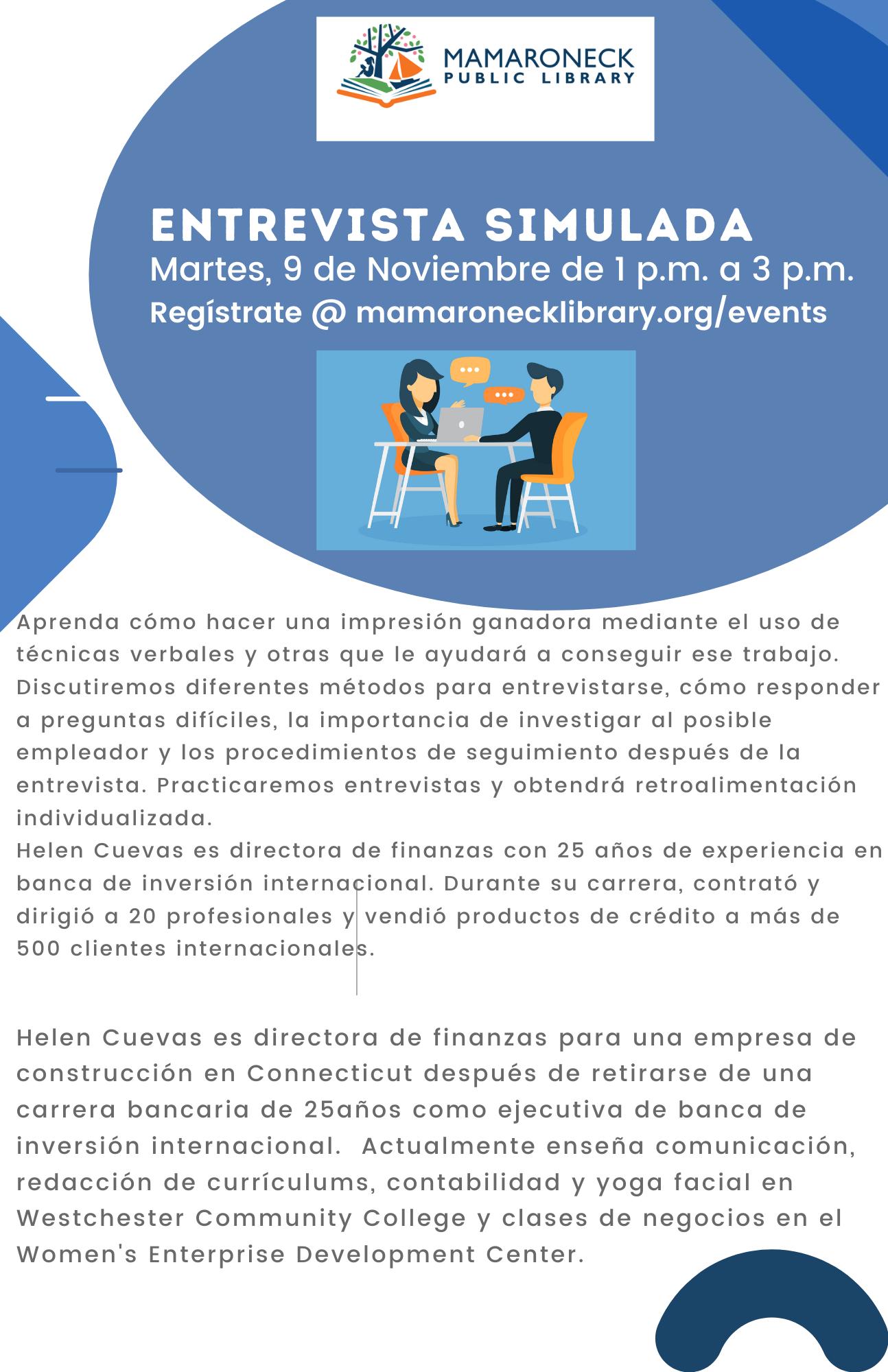 Spanish language flyer for mock job interview training vi zoom