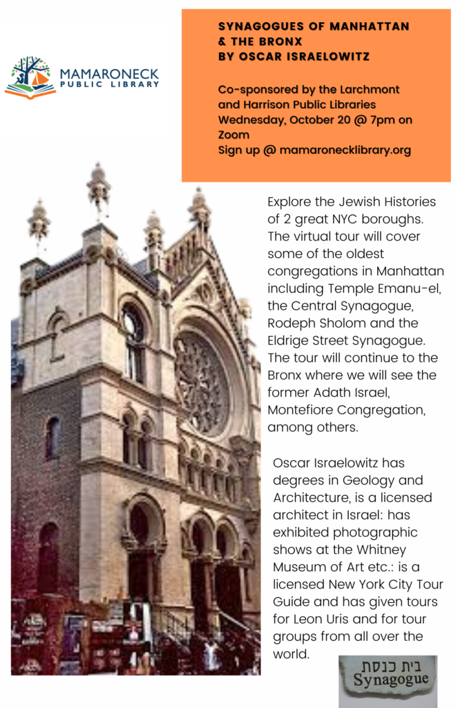 Oct. 20th webinar on zoom about synagogues of New York