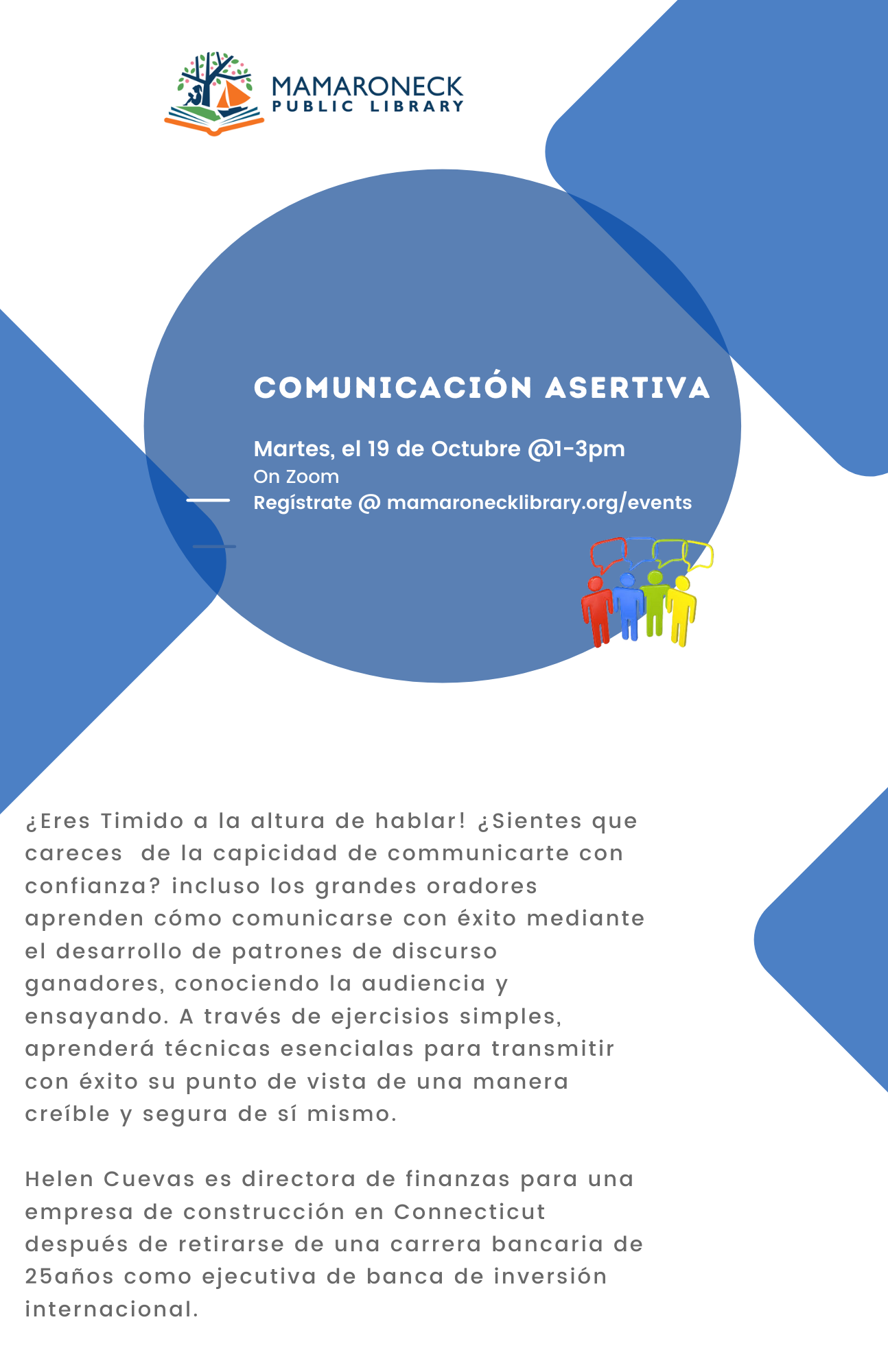 Assertive Communications flyer in Spanish for webinar