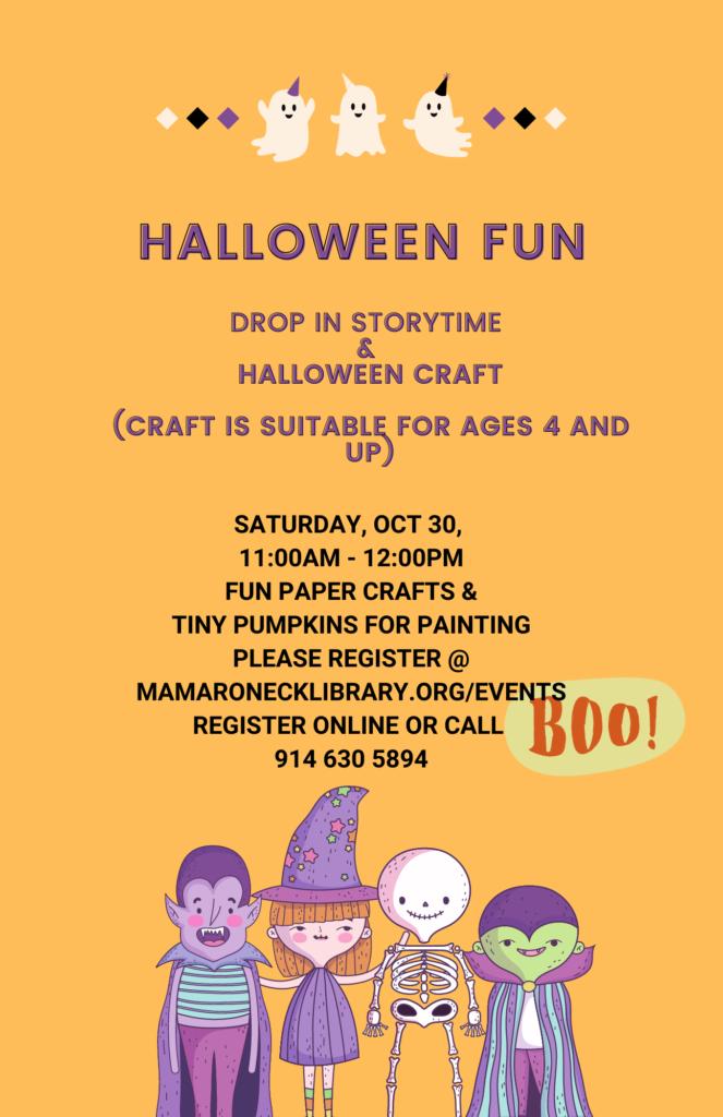 Halloween Fun for children Saturday Oct. 30