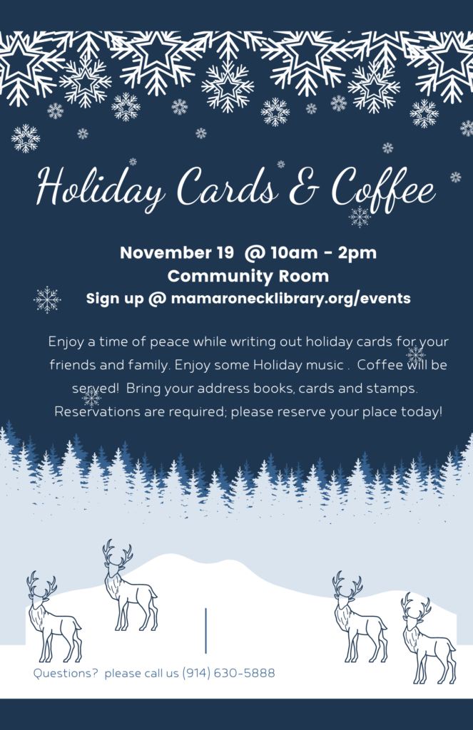 Write your holiday cards and enjoy coffee - Nov.