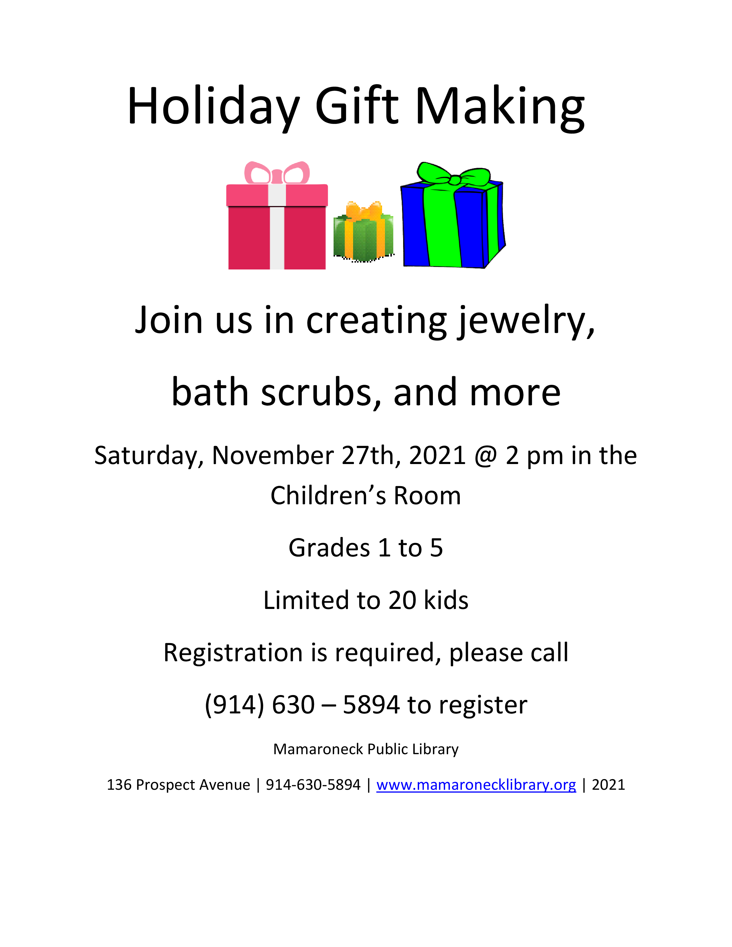 Holiday gift making Chicldren grades 1-5