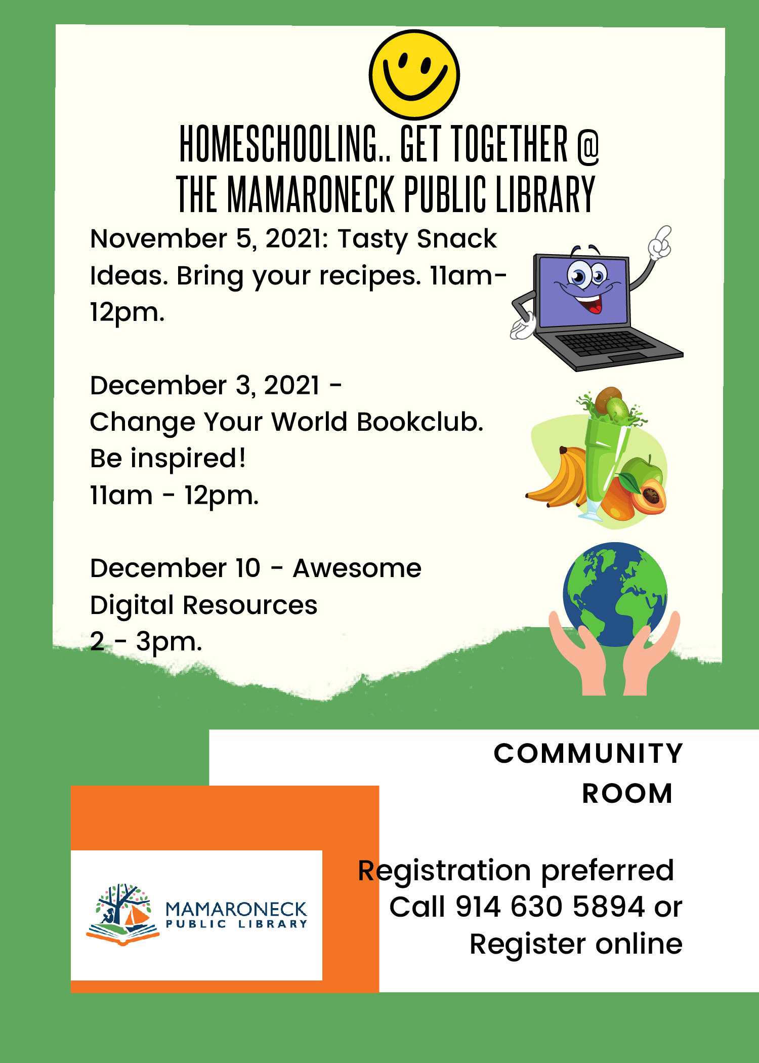 Homeschooling in the Library flyer - 3 Fall dates