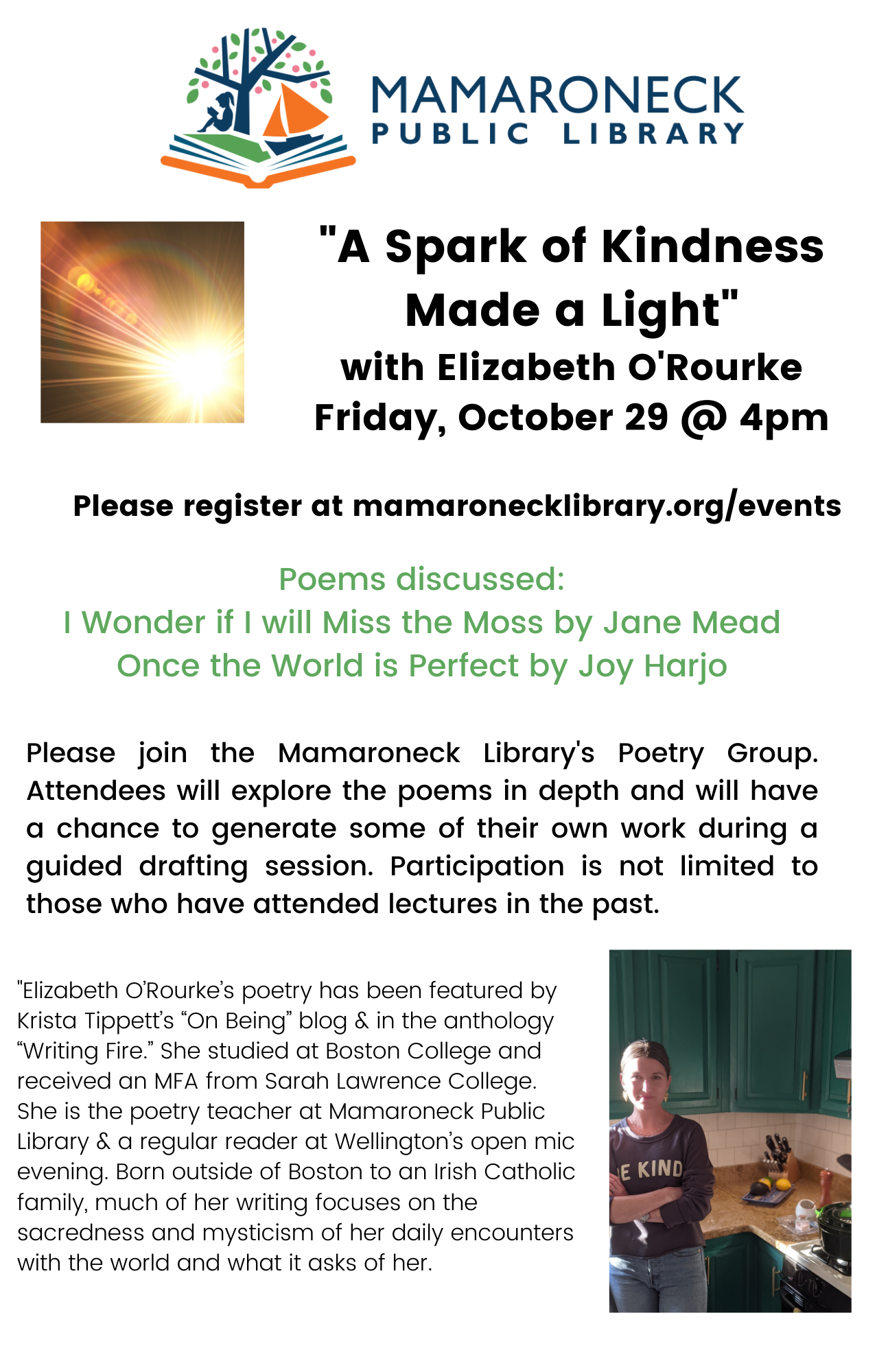 Poetry reading and discussion on friday Oct. 29 via zoom