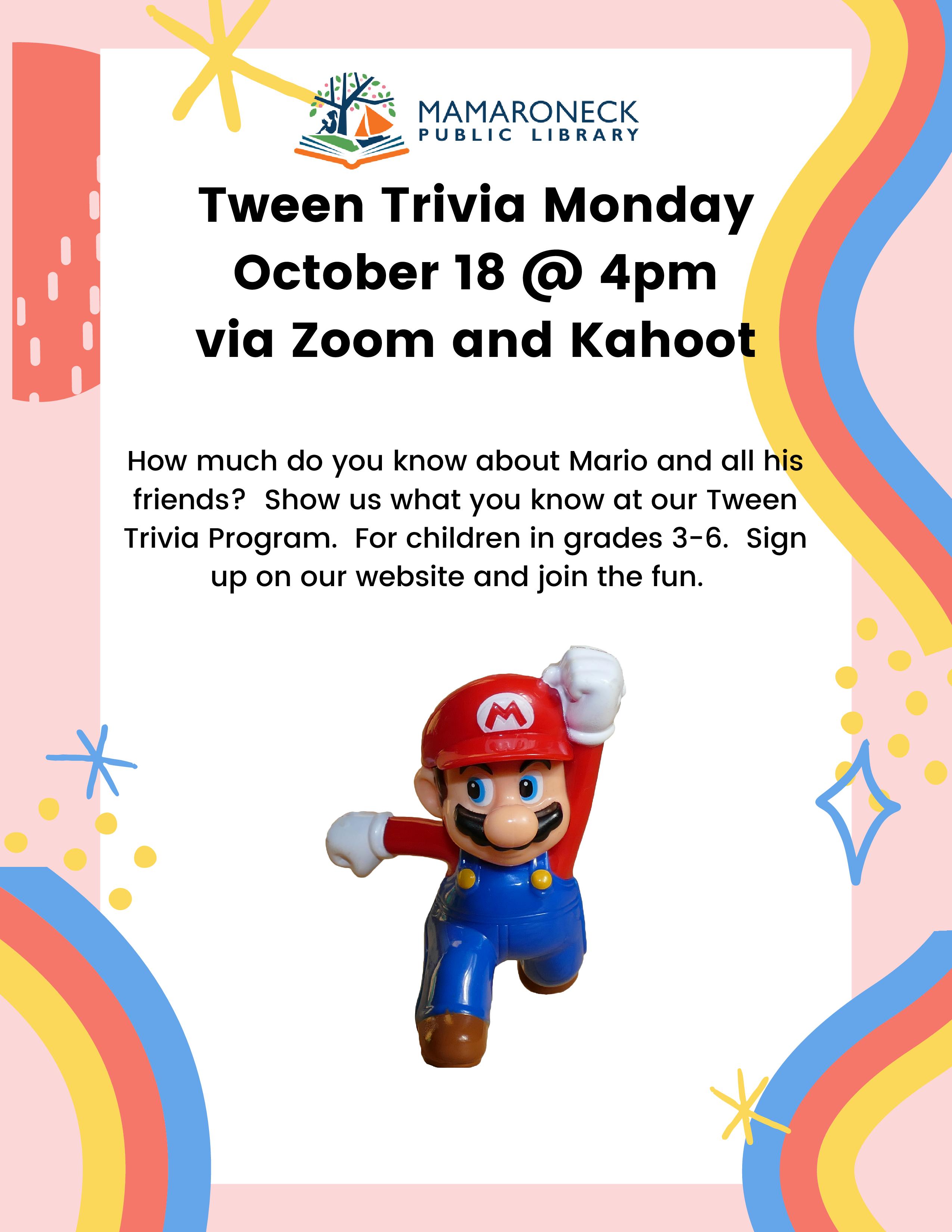 Tween trivia contest on Mario Bros. via Zoom